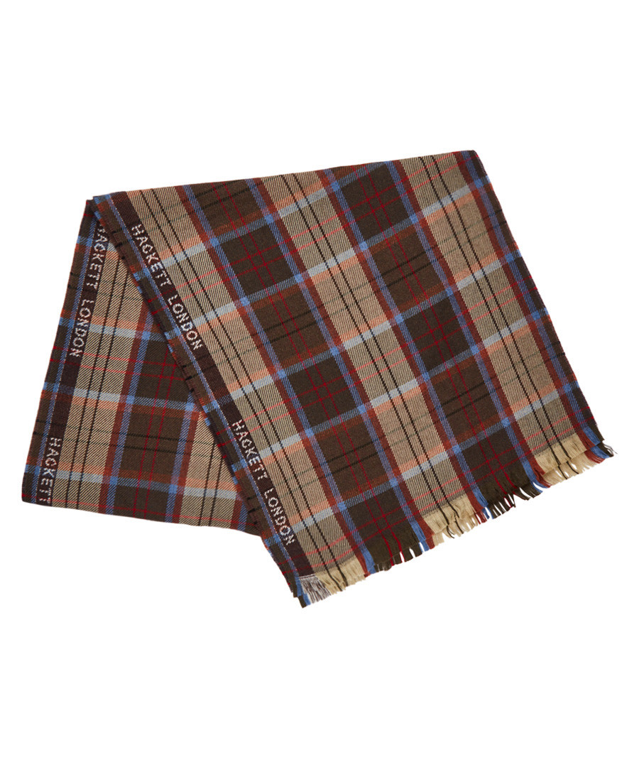 kepwick brown & blue lana wool scarf Sale - hackett
