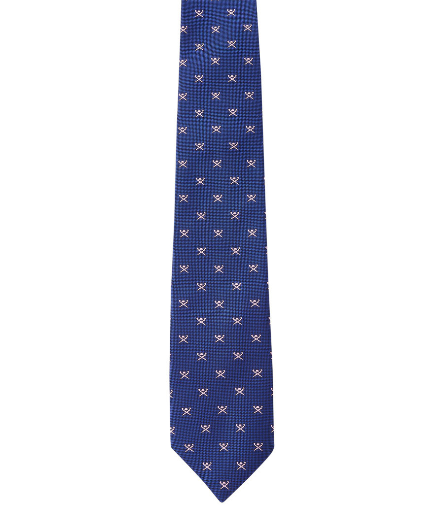 Blue & pink pure silk tile tie Sale - hackett