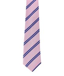 Pink & blue pure silk stripe tie