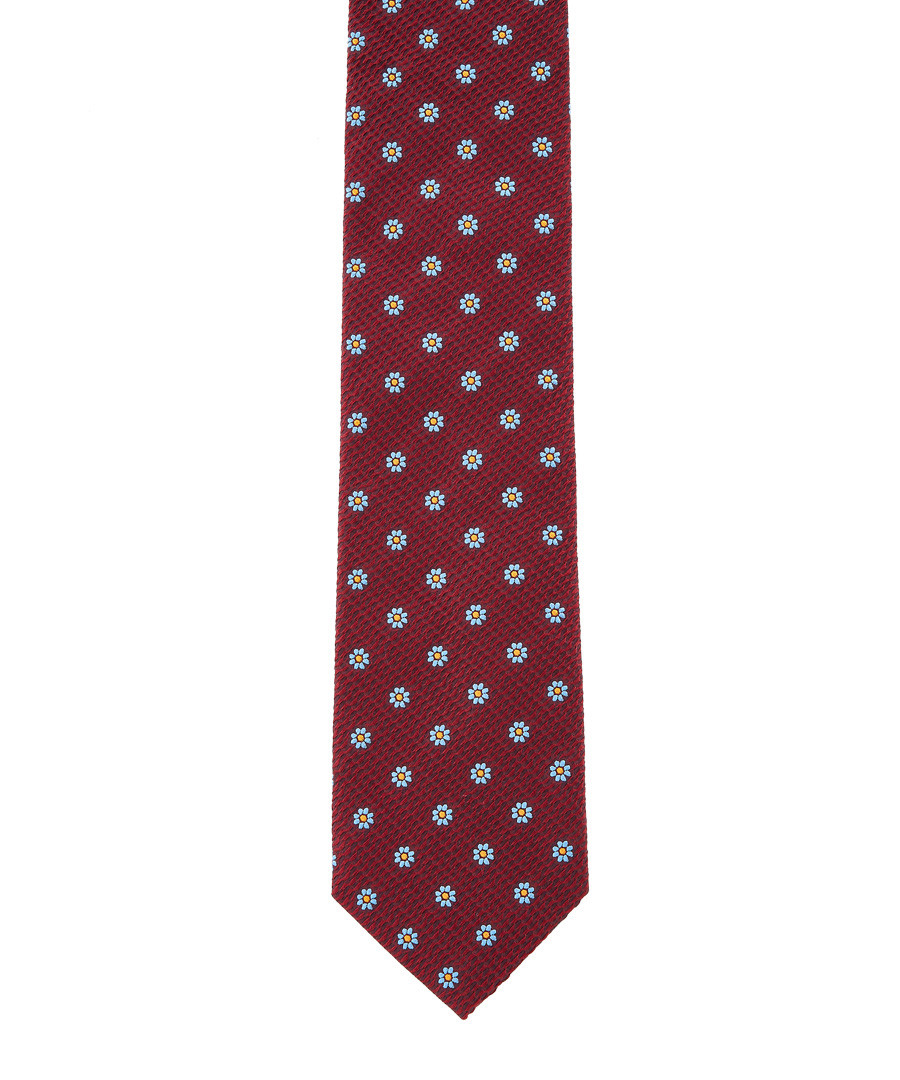 Wine pure silk flower tie Sale - hackett