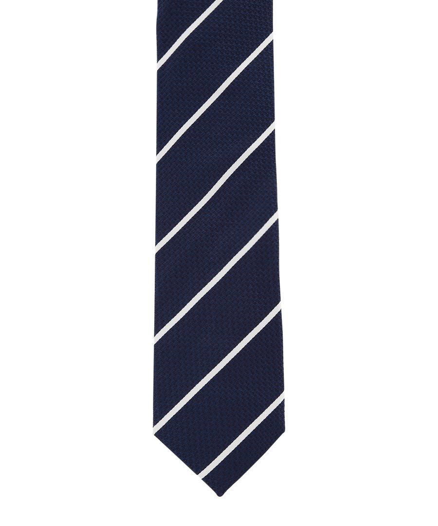 Navy pure silk stripe tie Sale - hackett
