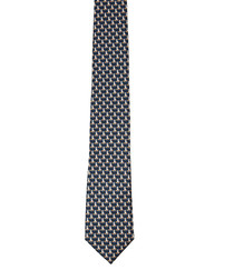 Navy pure silk fox tie