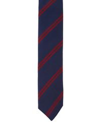 Wine & navy pure silk tie