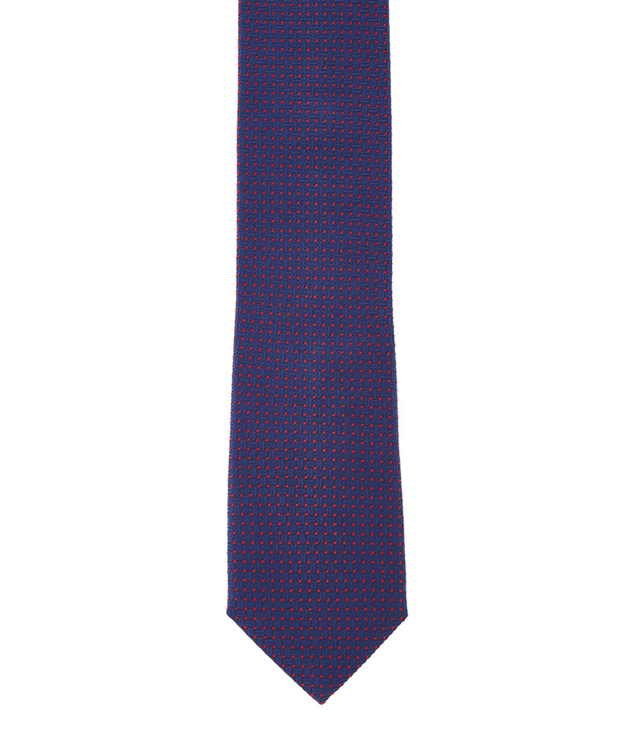 Navy & red pure silk tie Sale - hackett