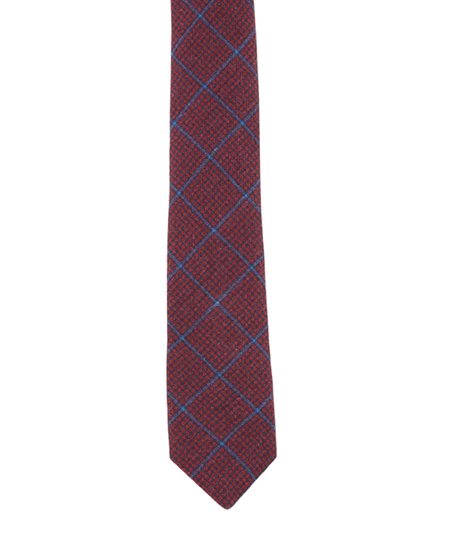 Navy & red wool & silk check tie Sale - hackett