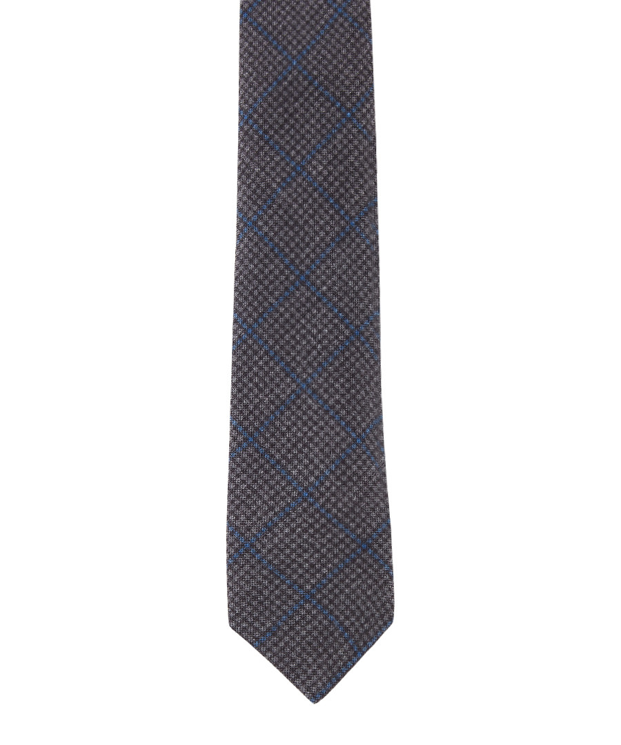 Grey wool & silk check tie Sale - hackett