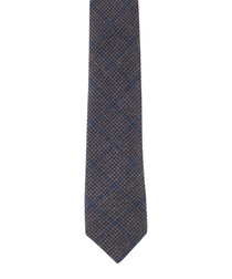 Grey wool & silk check tie