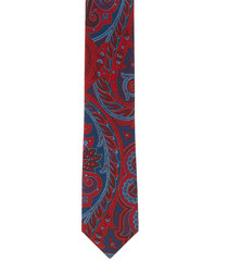 Bordeaux printed paisley pure wool tie