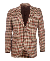 Country tan pure wool houndstooth jacket