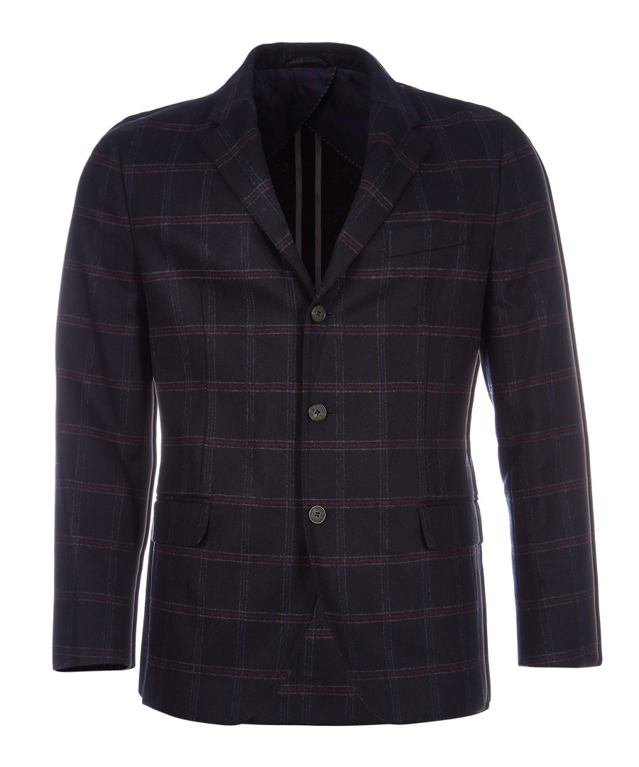 Navy pure wool check jacket Sale - hackett