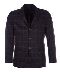 Navy pure wool check jacket