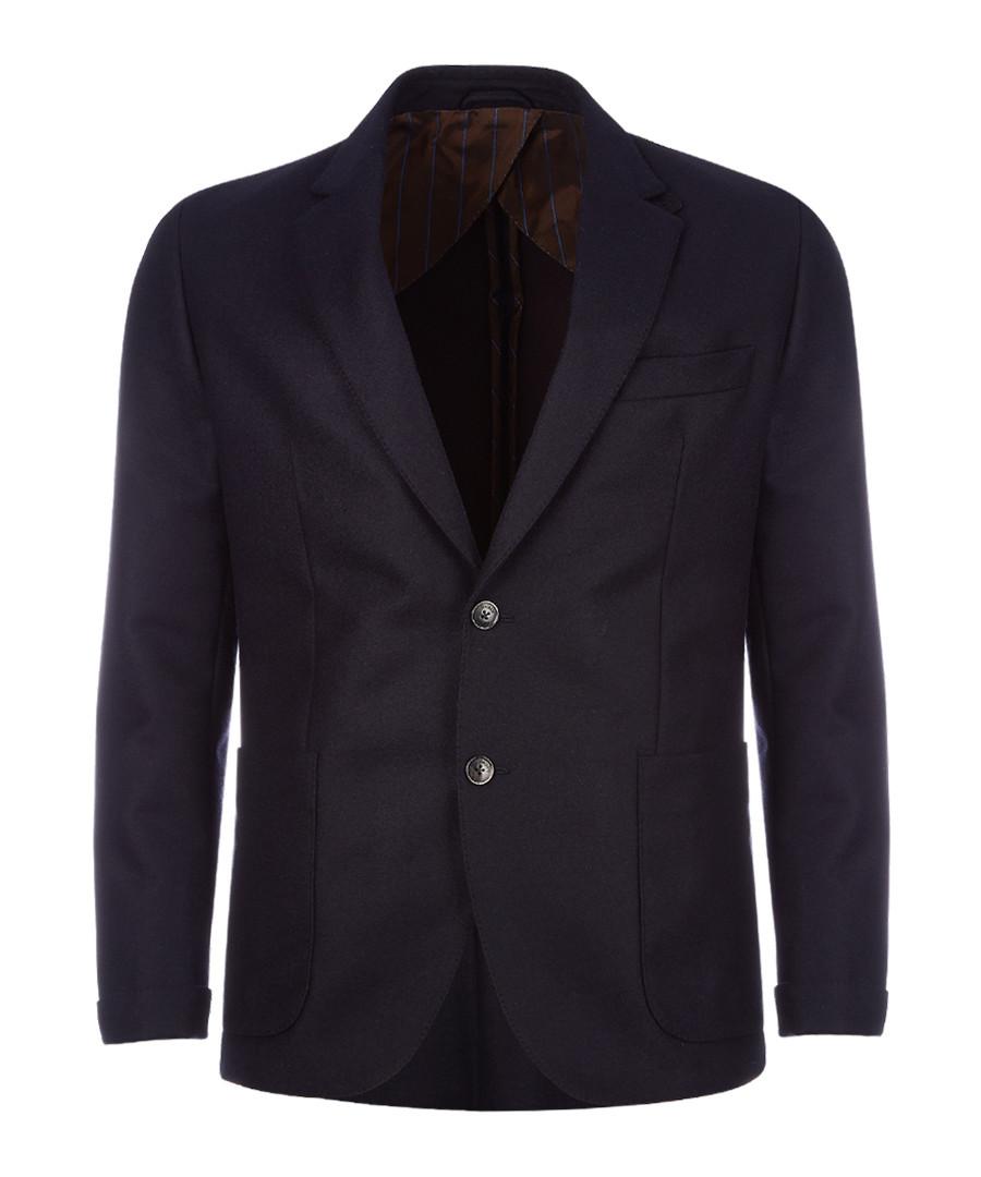 Navy & brown wool & cashmere jacket Sale - hackett