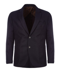Navy & brown wool & cashmere jacket