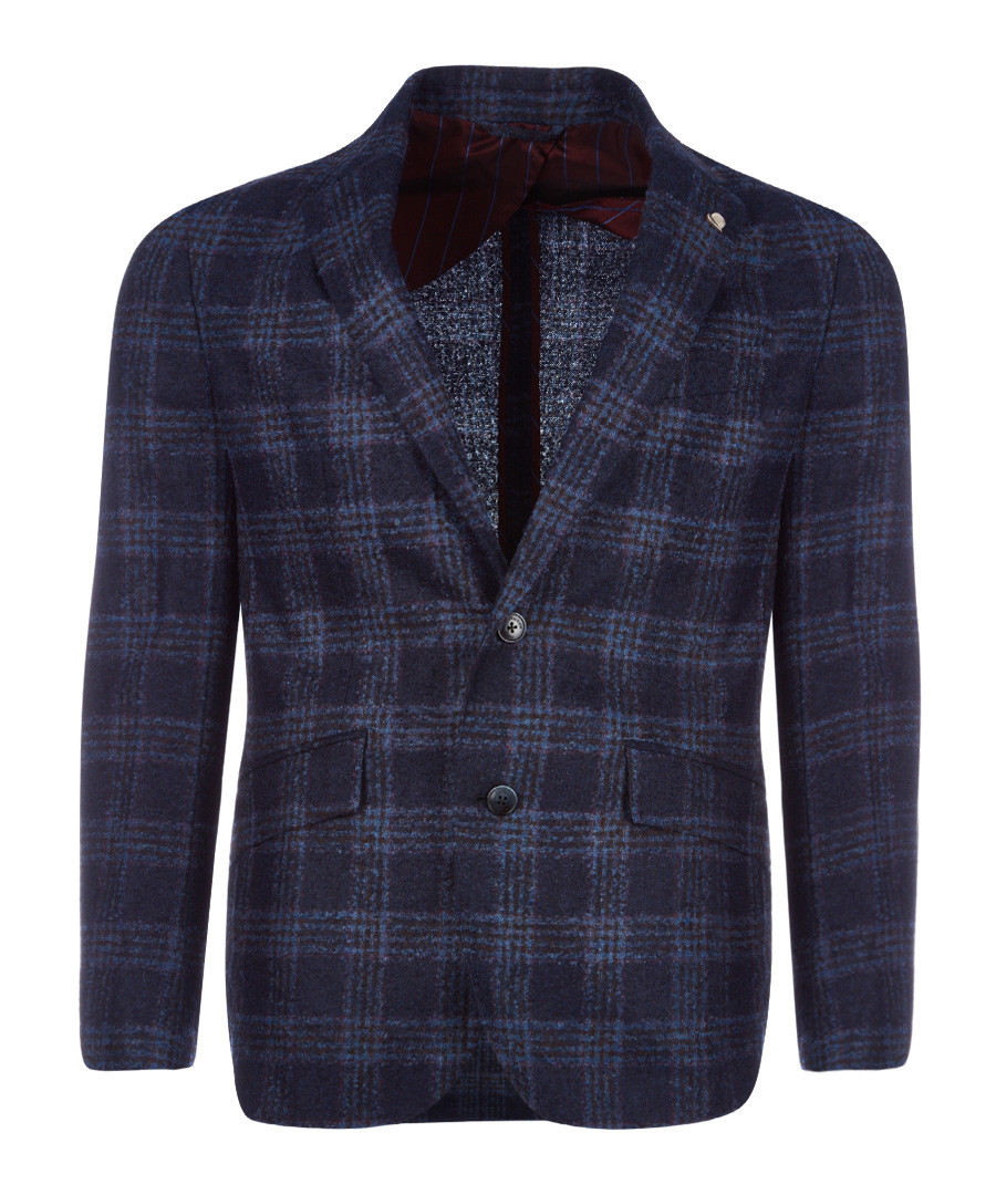 Navy pure wool plaid jacket Sale - hackett