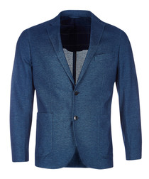 Blue cotton blend jacket