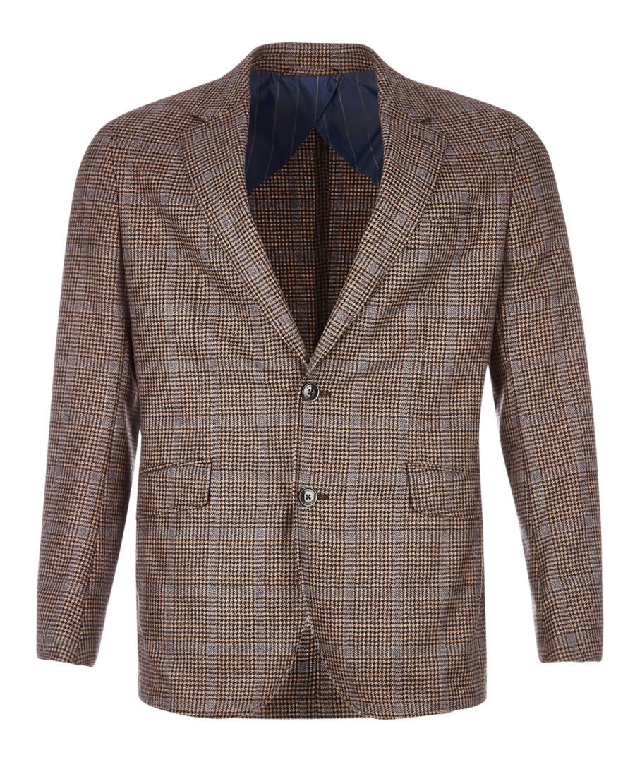 Tan wool & cashmere houndstooth jacket Sale - hackett