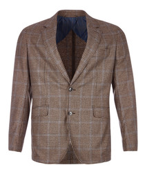 Tan wool & cashmere houndstooth jacket