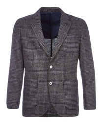 Glen check pure wool jacket