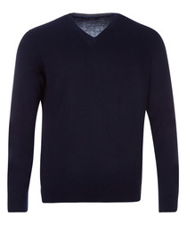 Navy wool, silk & cashmere jumper