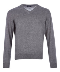 Grey marl wool, silk & cashmere jumper