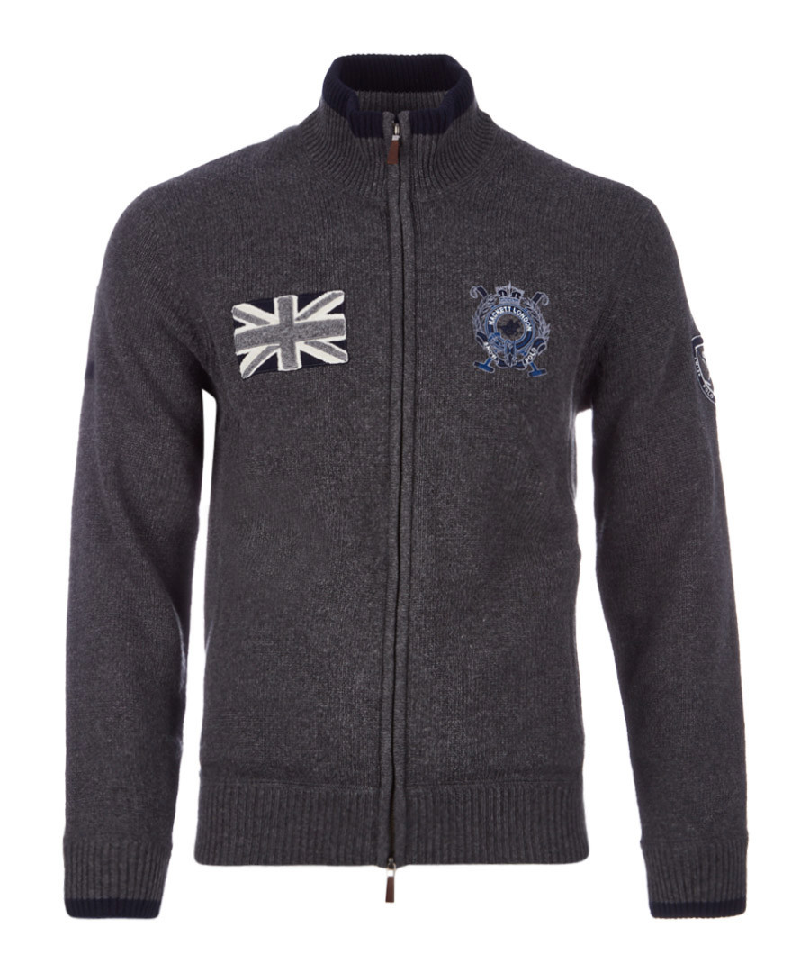 Dark grey wool blend zip-up jumper Sale - hackett