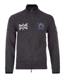 Dark grey wool blend zip-up jumper