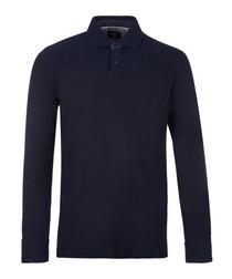 Navy pure cotton long sleeve polo shirt