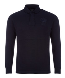 Navy pure cotton long sleeve polo shirt