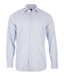 White navy pure cotton long sleeve shirt