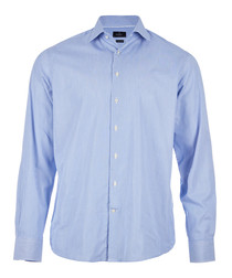 Blue pure cotton long sleeve shirt