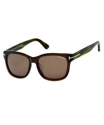Cooper dark brown & green sunglasses