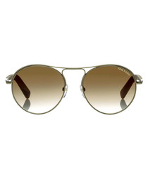 Jessie gold-tone & brown sunglasses