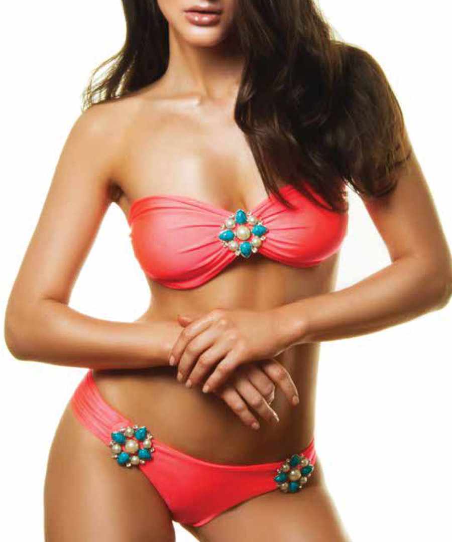 2pc Helen coral embellished bikini set Sale - lavishly appointed swim