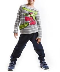 2pc crocodile cotton blend outfit set