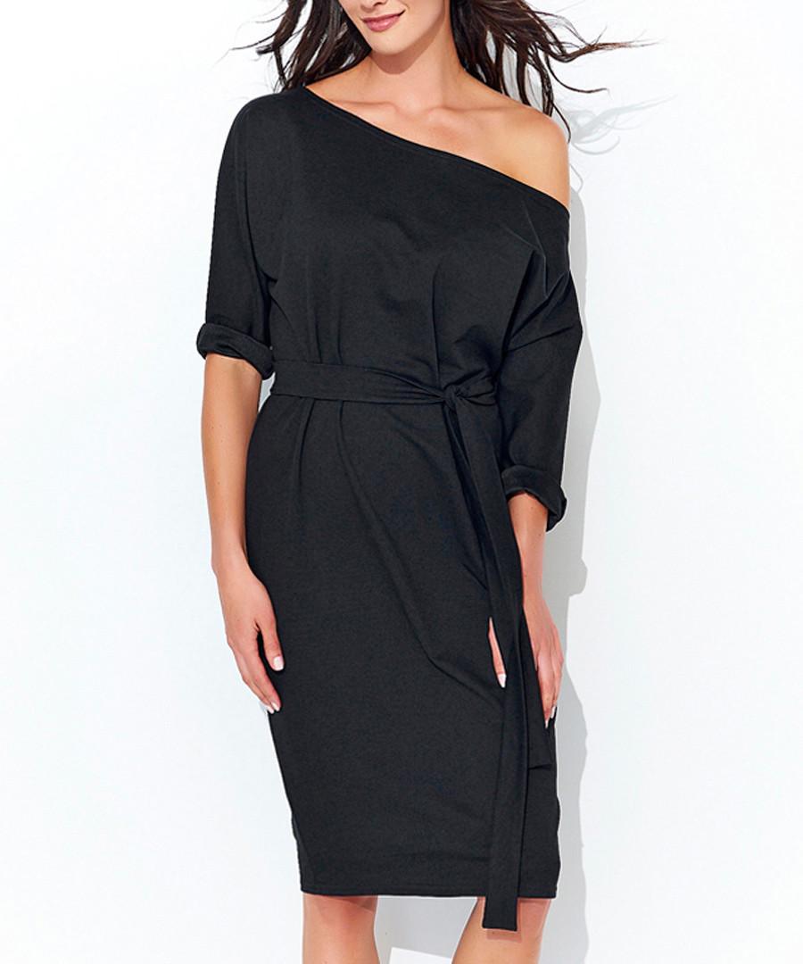 Black one-shoulder cotton blend dress Sale - numinou