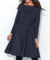 Graphite cotton blend tie-waist dress