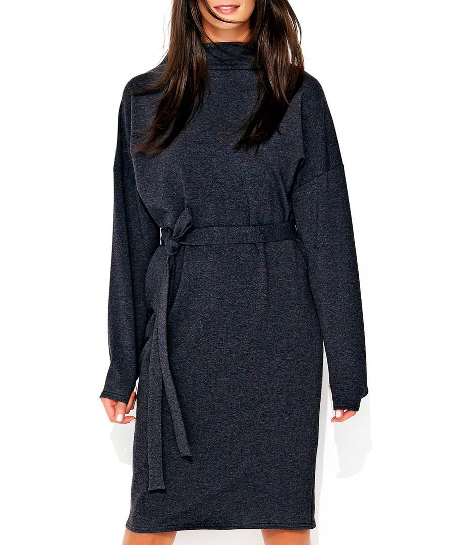Graphite cotton blend tie-waist dress Sale - numinou