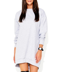Light grey cotton blend jumper dress