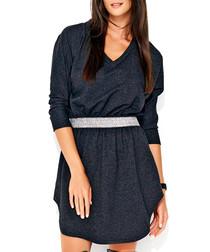 Graphite cotton blend wrap front dress