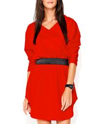 Red cotton blend wrap front mini dress