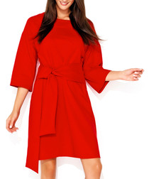 Red cotton blend tie-waist dress