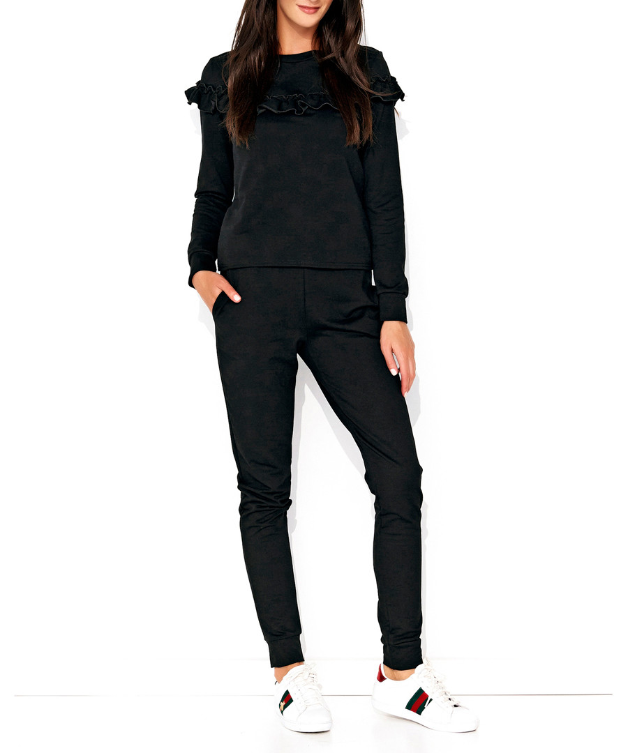 Black cotton blend ruffle jumpsuit Sale - Numinou