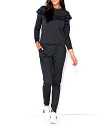 Graphite cotton blend ruffle jumpsuit
