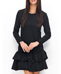 Black cotton blend drop-waist dress
