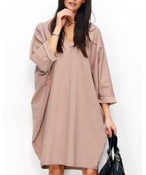 Cappuccino cotton blend oversized dress