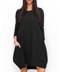 Black cotton blend oversized dress