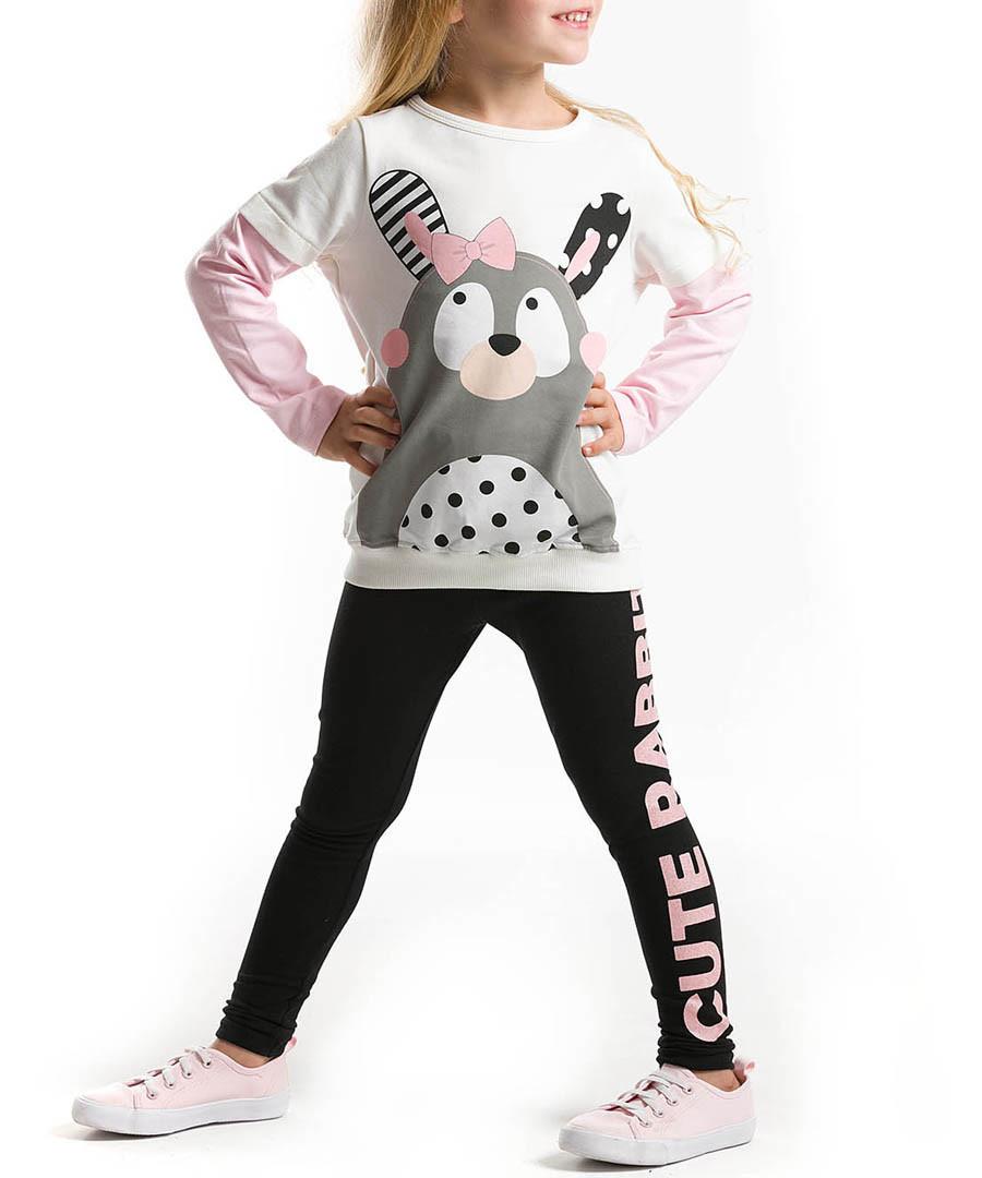 2pc rabbit print cotton blend outfit set Sale - Denokids