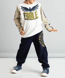 2pc eagle print cotton blend outfit set
