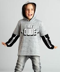 Grey hey dude print cotton blend hoodie