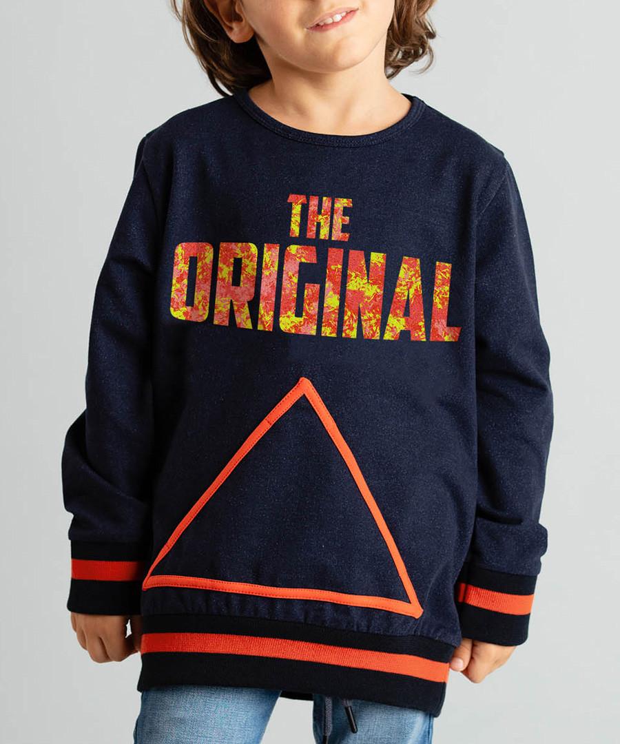 Navy & orange slogan cotton blend jumper Sale - ollie&olla